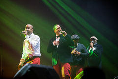 All-4-One Performance. JAKARTA, INDONESIA - OCTOBER 6, 2013: American R&B group All-4-One performs at the 6th LA Lights Java Soulnation Festival 2013 on October Royalty Free Stock Photo