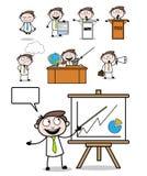 Cartoon Professional Businessman Poses Set. Vector design royalty free illustration