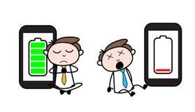 Battery up & Dowin energy level concepts Cartoon Professional Businessman. Vetor design stock illustration