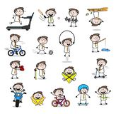 Collection Of Various outdoor playing activity workout Businessman set stock illustration