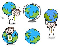 Collection Of Various Globe earth concepts Professional Businessman. Vector design royalty free illustration