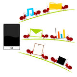All in one  smartphone and red ants illustration Stock Image