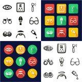 All Optometry i en symboler uppsättning för design för svart- & vitfärglägenhet Freehand stock illustrationer