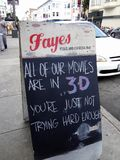 'All of Our Movies Are in 3-D You're Just Not Trying Hard Enough' - Fayes Video and Espresso Bar. San Francisco - June 15, 2011:  'All of Our Movies Are in 3-D stock photo