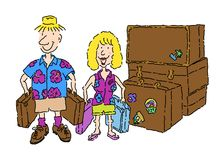 All Packed!. Al packed for vacation stock illustration