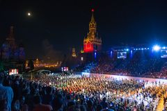 All participants and spectators on  the international military music festival Spasskaya Tower Royalty Free Stock Image