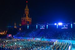 All participants and spectators on the international military music festival Spasskaya Tower Royalty Free Stock Images
