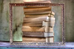 Books and a frame. All the passion for reading and the great books Royalty Free Stock Image