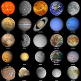 The solar system Updated. All of the planets that make up the solar system with the sun and prominent moons included Stock Photos