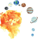 All the planets of the solar system , hand -drawn watercolor - S Stock Photography