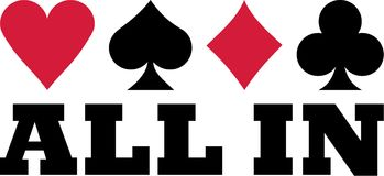 All in with playing cards suits. Vector royalty free illustration