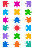 All possible shapes of jigsaw puzzle. Pieces colorful stock illustration
