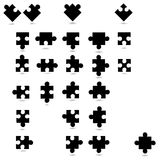 All possible shapes of puzzle pieces. On white background Stock Image