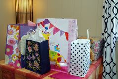 The birthday presents have been wrapped. All the presents have been wrapped in various colors Royalty Free Stock Photo