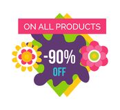 All Products 90 Total Absolute Final Sale Label. On all products 90 off total absolute final sale label with flower blossoms, summer or spring sale emblem vector Stock Photos