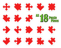 All 18 puzzle parts Stock Photography