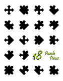 All 18 puzzle pieces - black Stock Images