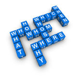All question. Words  (blue-white cubes crossword series Stock Photo
