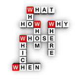 All question words crossword Stock Photography