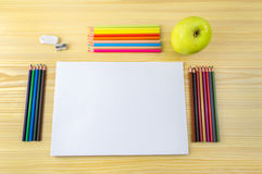 All ready to draw and apple for snack Royalty Free Stock Images