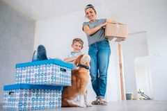 We are all realy happy in our new home Stock Photo