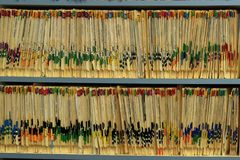 All  the records are kept neatly. The folders are stacked in the cabinet Royalty Free Stock Images