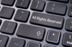 All rights reserved message on keyboard Royalty Free Stock Photo