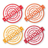 All Rights Reserved Patendet Stamp Labels Stock Photo