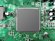 All roads lead to chip. Landscape photo of a chip in an integrated circuit royalty free stock photos