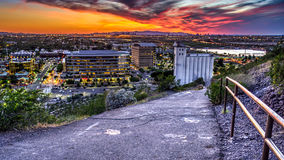 All Roads lead to Mill. Tempe, Arizona sits to the East of Phoenix and is home to ASU.  The historic Hayden Flour Mill sits at the bottom of the path.  The Royalty Free Stock Photo
