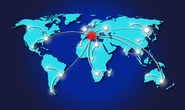 All roads lead to Rome. Map of world with lines of travelling across the world Stock Photos