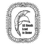 All roads lead to Rome quote. Roman Helmet Greek warrior Gladiator vector sketch Royalty Free Stock Image