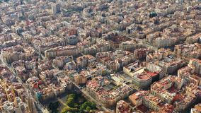 All-round aerial view to city center. Barcelona Spain. Eixample district. Sunny day, Video footage. All-round aerial drone view to city center. Barcelona Spain stock video footage