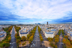 All-round view from Arc de Triumph. Beautiful view from of Avenues from Arc de Triumph to La Defence and other streets Stock Image