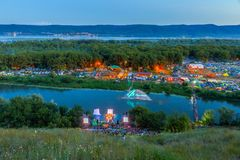 All-Russia festival of the author`s song named after Valery Grushin. Panorama of the glade, where the All-Russia festival of author`s song named after Valery royalty free stock image