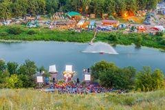 All-Russia festival of the author`s song named after Valery Grushin. Panorama of the glade, where the All-Russia festival of author`s song named after Valery Royalty Free Stock Photos