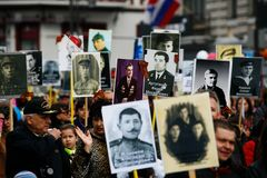 All-Russian action `Immortal Regiment`, timed to the Victory Day on May 9 in Vladivostok. stock photo