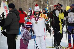 All-Russian mass ski race Ski Russia. The Olympic champion took part in the race. stock photography