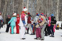 All-Russian mass ski race Ski Russia. The Olympic champion took part in the race. royalty free stock image