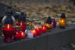 All Saints Candles. Memorial candles on the All Saints Day stock images
