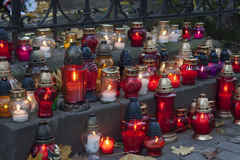 All Saints Day. Memorial candles on the All Saints Day royalty free stock image