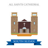 All Saints Cathedral South Sudan Flat sight vector Stock Photography