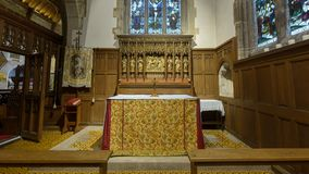 All Saints Church Lady Chapel Altar. Wraxall, England - Feb 10, 2018: All Saints Church Lady Chapel Altar, Religious Architecture Stock Photography