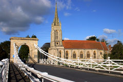 All Saints Church Marlow. Marlow Suspension Bridge and All Saints Church at Marlow, Buckinghamshire, England Royalty Free Stock Photography