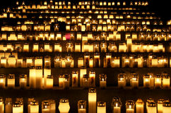 All Saints' Day. Candles in a cemetery on  All Saints' Day in Finland Stock Images