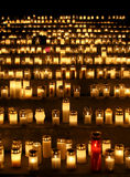 All Saints' Day. Candles in a cemetery on  All Saints' Day in Finland Stock Photo