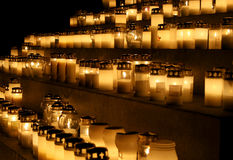 All Saints' Day. Candles in a cemetery on  All Saints' Day in Finland Royalty Free Stock Image