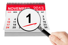 All Saints Day Concept. 1 November 2013 calendar with magnifier. On a white background Stock Photography