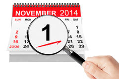 All Saints Day Concept. 1 November 2014 calendar with magnifier. On a white background Royalty Free Illustration