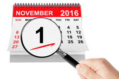 All Saints Day Concept. 1 November 2016 calendar with magnifier Stock Image